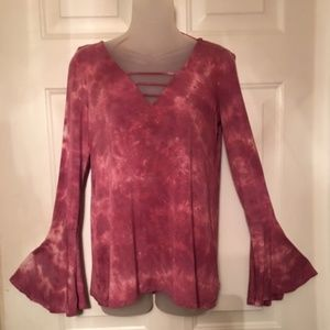American Eagle Tie Dye Bell Sleeved Top Small